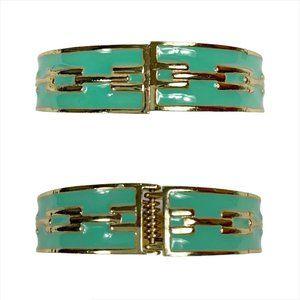 Aqua And Gold Southwestern Aztec Bangle Bracelet